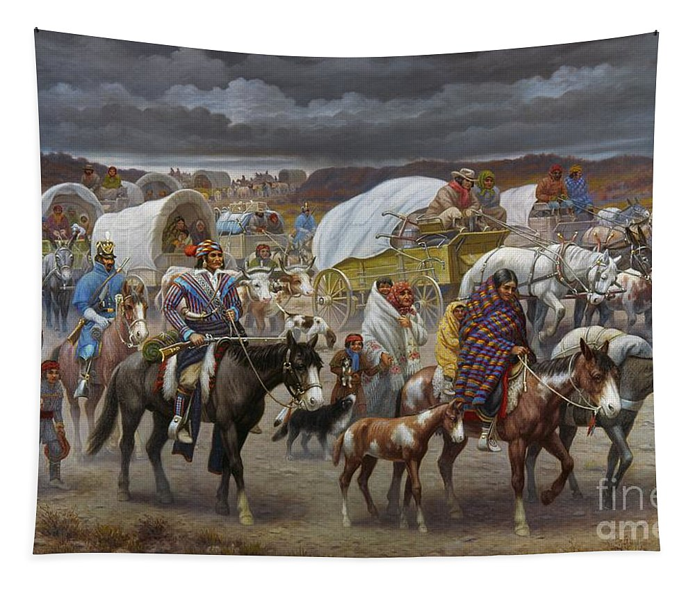 1838 Tapestry featuring the painting The Trail Of Tears by Granger
