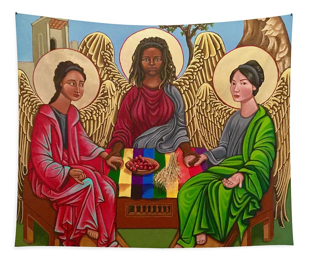 Trinity Tapestry featuring the painting The Trinity by Kelly Latimore
