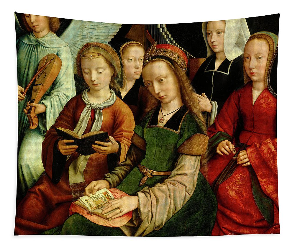 St Tapestry featuring the painting The Virgin Among The Saints, Detail by Gerard David