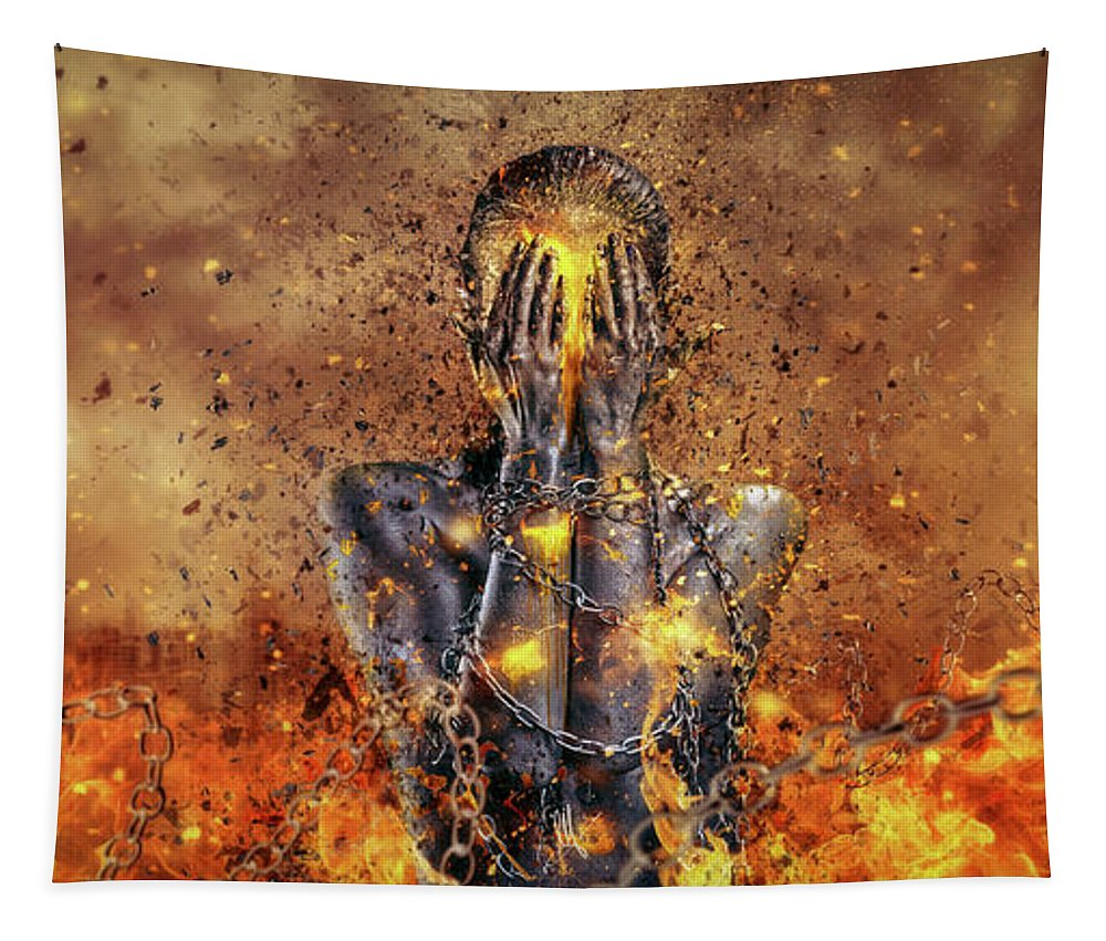 Surreal Tapestry featuring the digital art Through Ashes Rise by Mario Sanchez Nevado