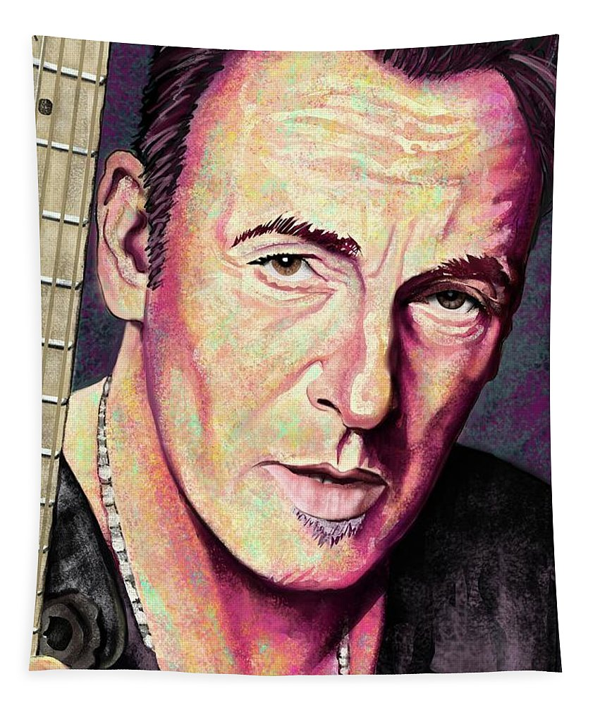 Bruce Springsteen Tapestry featuring the digital art Thunder Road by Paul Dutka