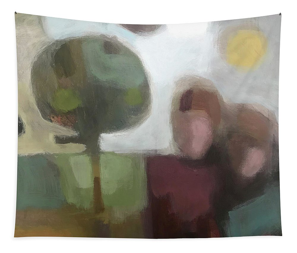 Landscape Tapestry featuring the painting Together by Farhan Abouassali
