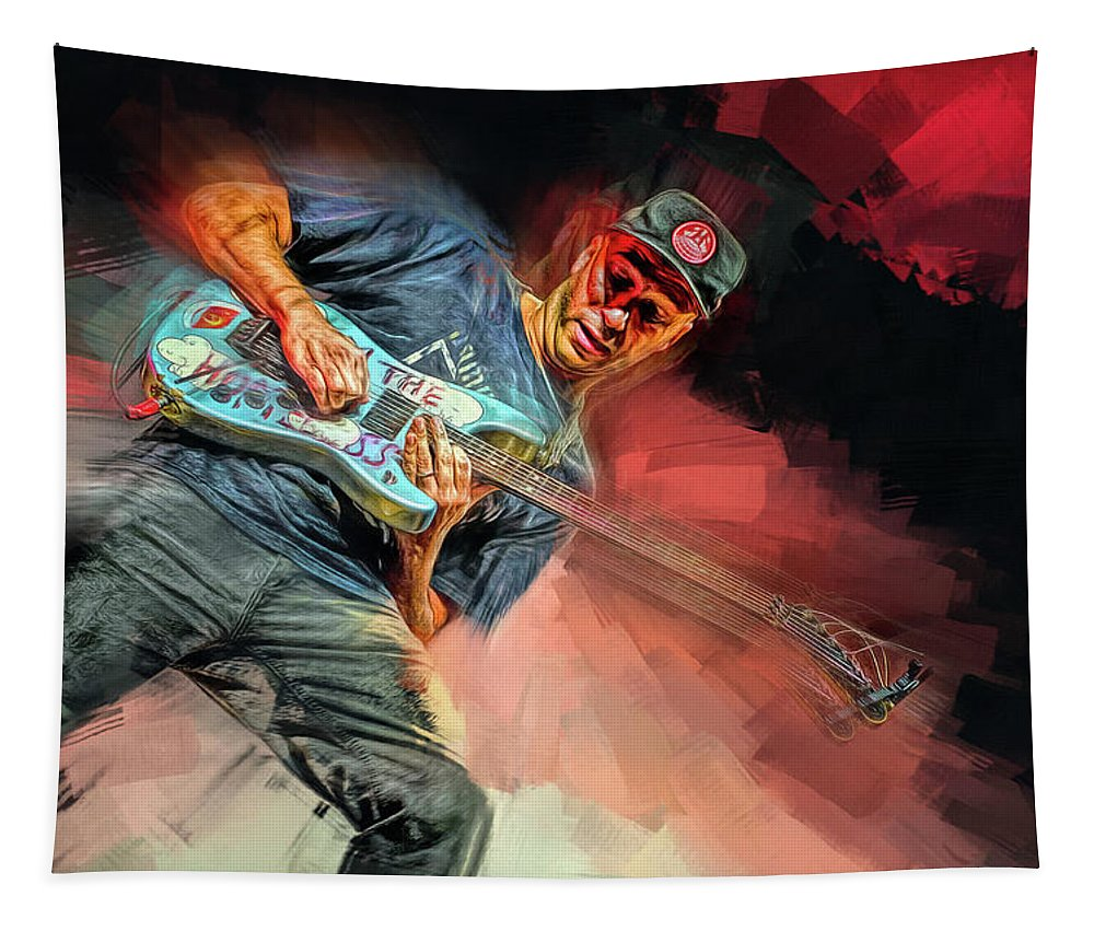 Tom Morello Tapestry featuring the mixed media Tom Morello by Mal Bray
