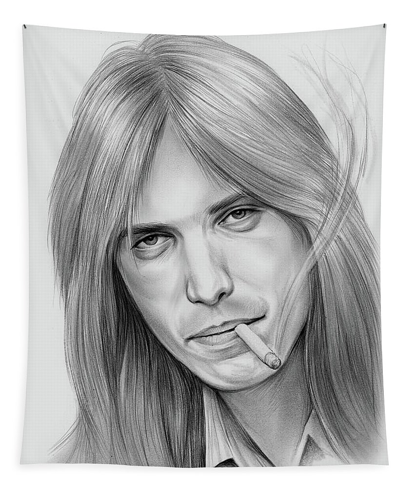 Tom Petty Tapestry featuring the drawing Tom Petty - Pencil by Greg Joens