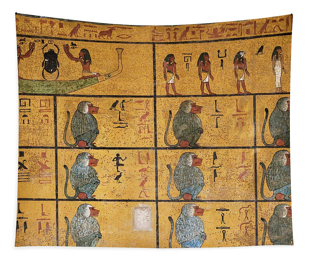 12 Baboons Tapestry featuring the painting Tomb Of Tutankhamun, The Western Wall by Egyptian History