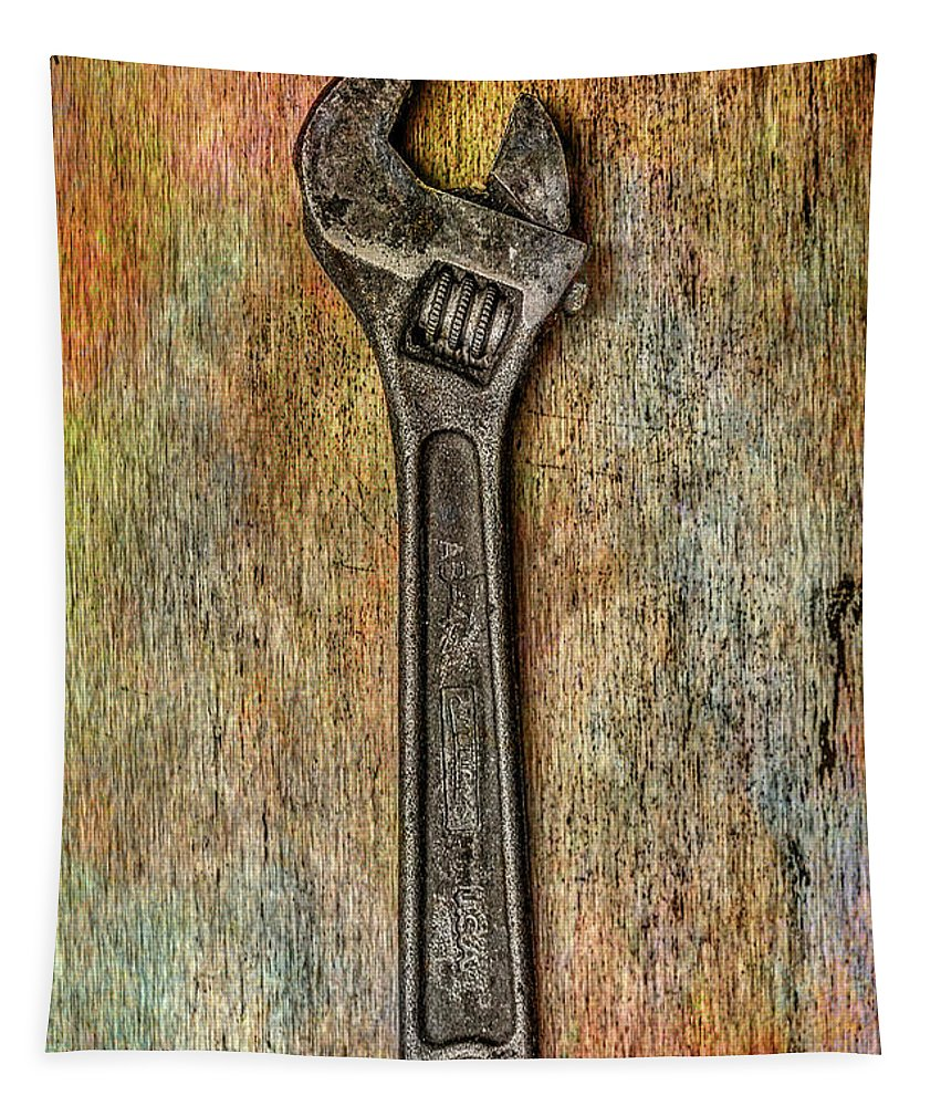 Tool On Rusty Metal Tapestry featuring the digital art Tool on Rusty Metal Two by Randy Steele