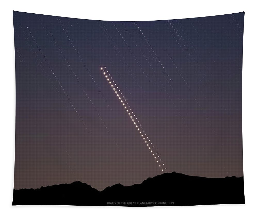 Tapestry featuring the photograph Trails of the Great Planetary Conjunction by Prabhu Astrophotography