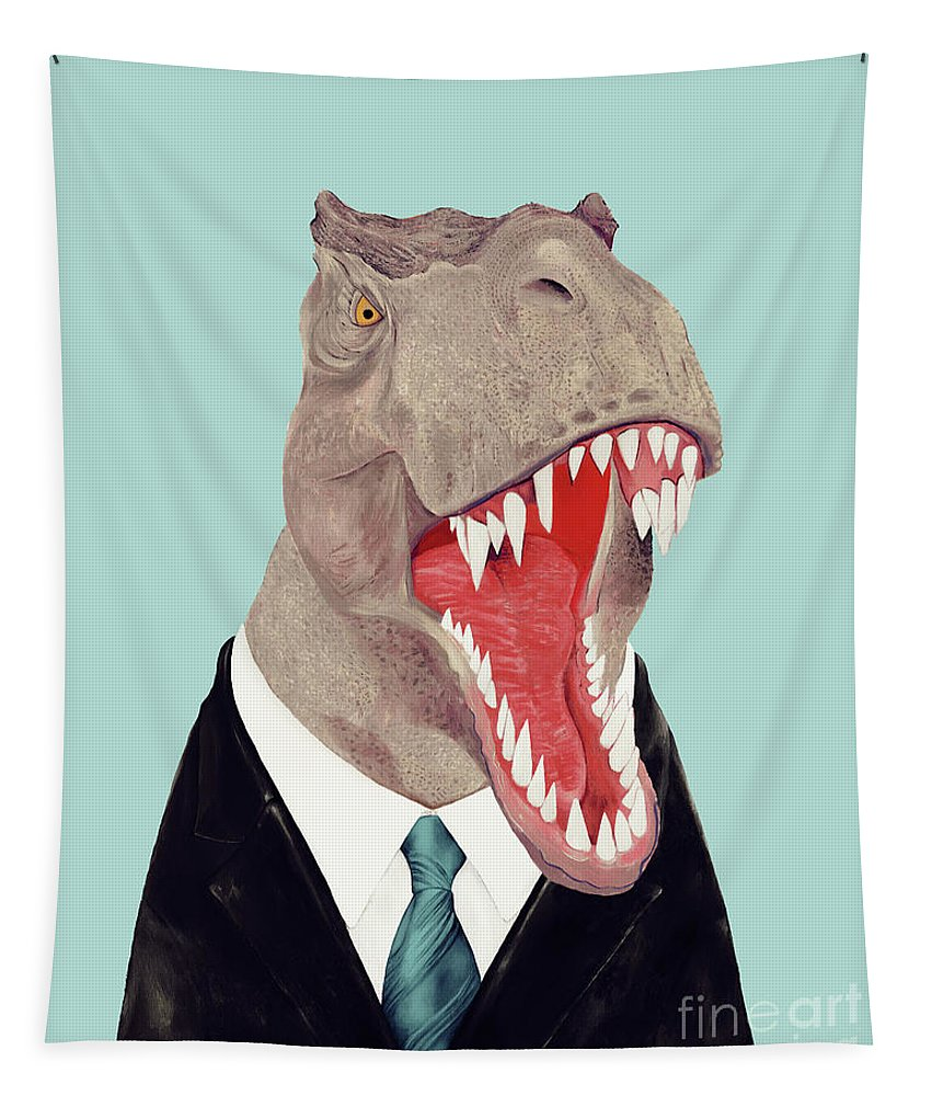 Tapestry featuring the painting Tyrannosaurus Rex by Animal Crew