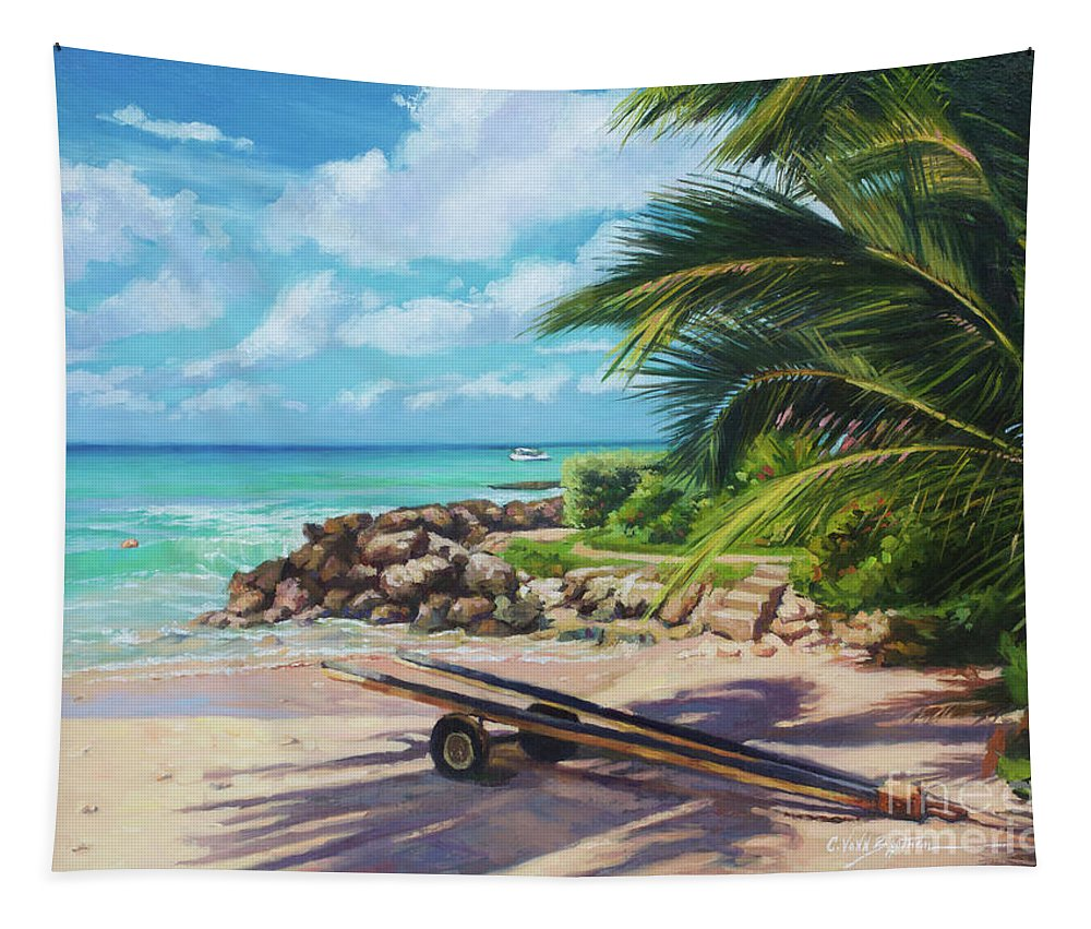 Beach Tapestry featuring the painting Unhitched by Colin Bootman