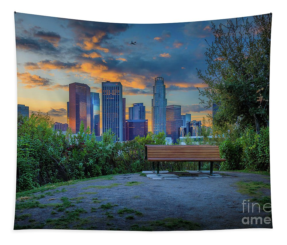 America Tapestry featuring the photograph Vista Hermosa Twilight by Inge Johnsson