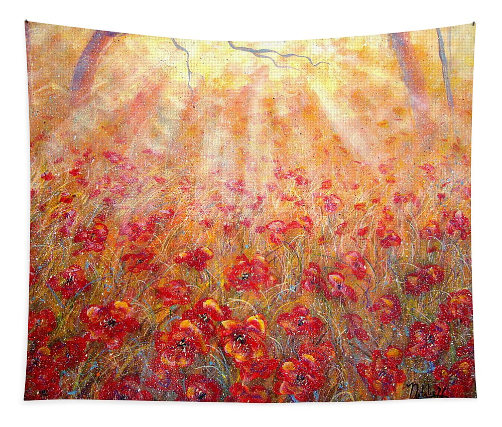 Landscape Tapestry featuring the painting Warm Sun Rays by Natalie Holland