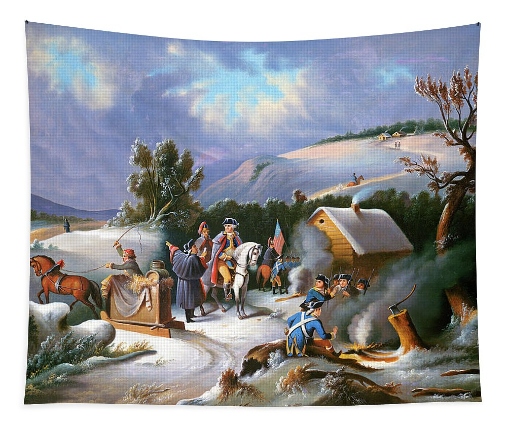 George Washington Tapestry featuring the painting Washington at Valley Forge by Anonymous