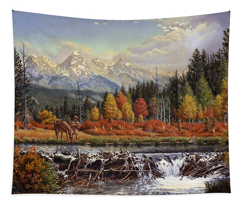 Western Mountain Landscape Tapestry featuring the painting Western Mountain Landscape Autumn Mountain Man Trapper Beaver Dam Frontier Americana Oil Painting by Walt Curlee