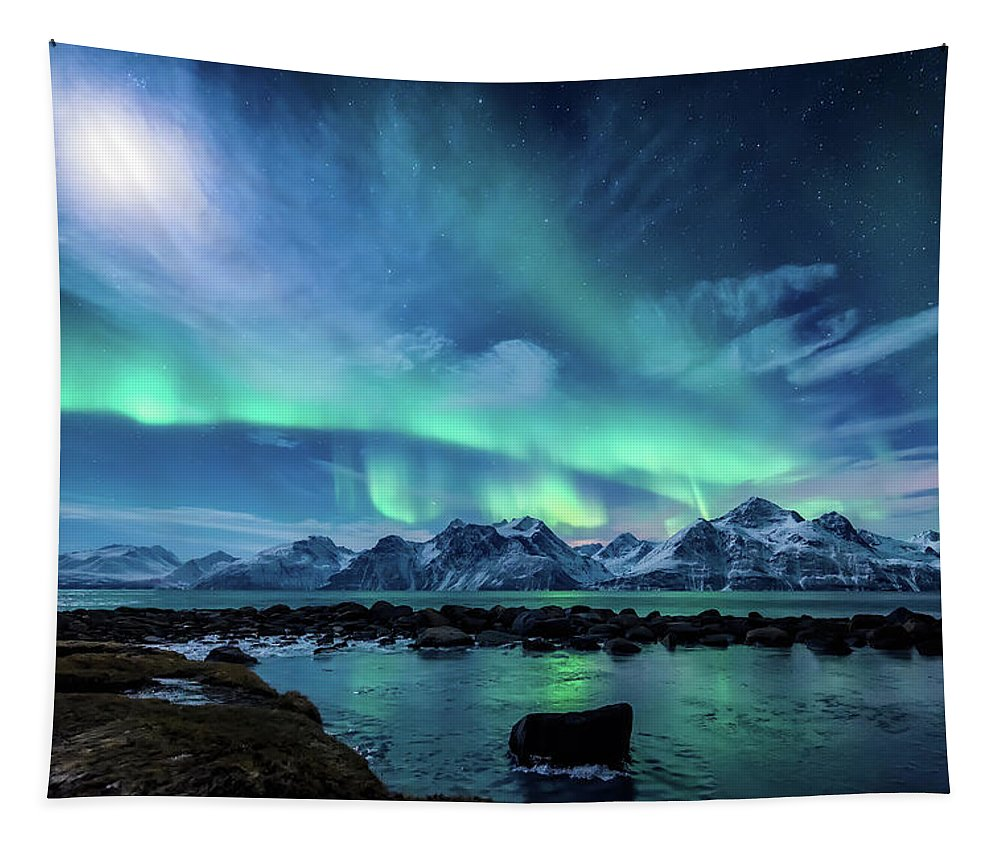 Moon Tapestry featuring the photograph When the moon shines by Tor-Ivar Naess