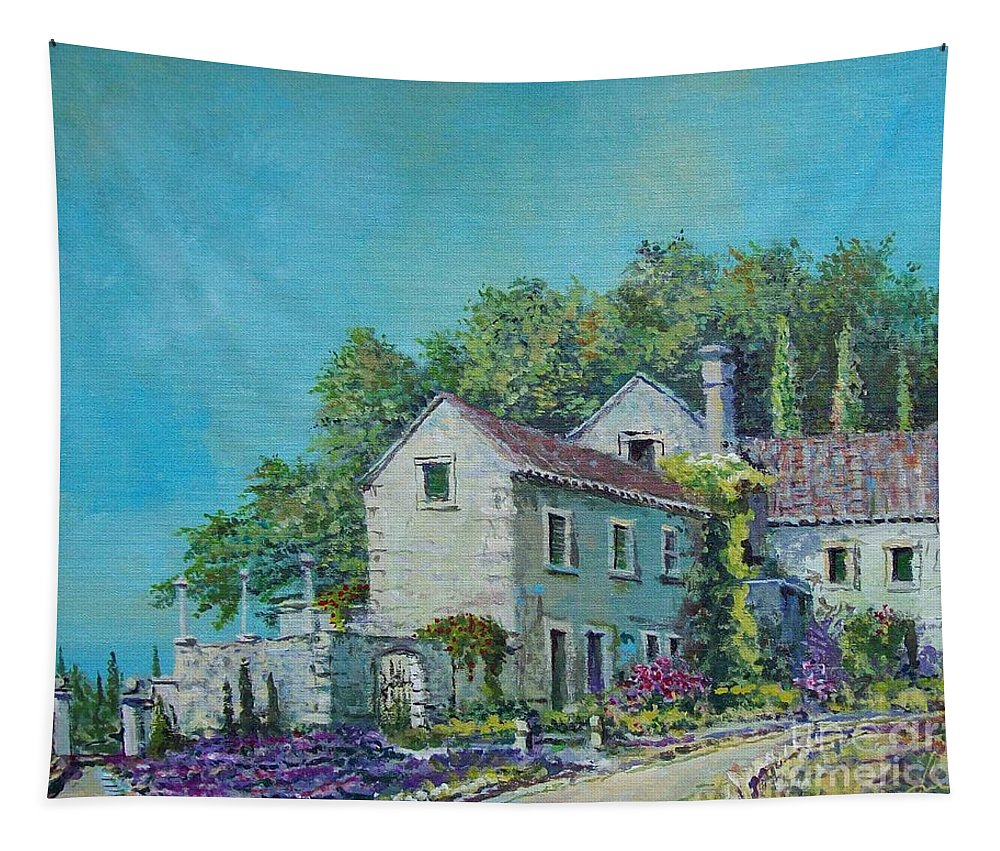 Original Painting Tapestry featuring the painting Village Vista by Sinisa Saratlic