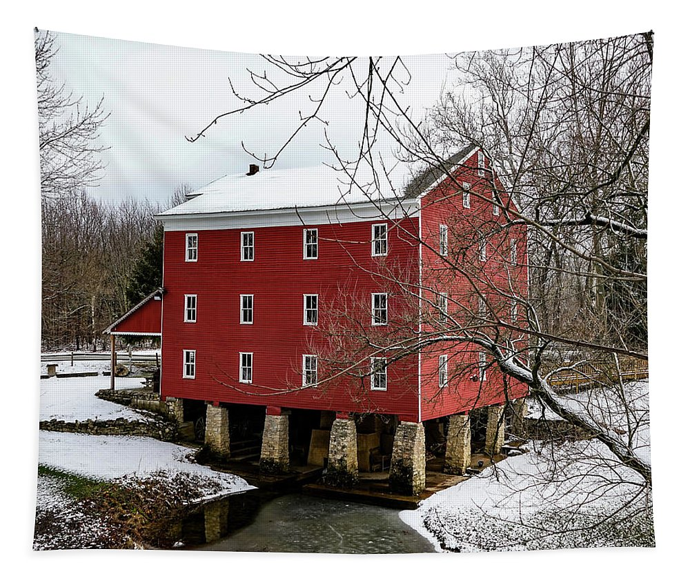 Grist Mill Tapestry featuring the photograph Winter At Adams Mill by Scott Smith