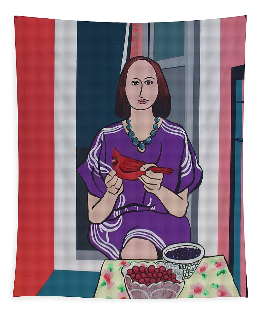Bird Tapestry featuring the painting Woman, Bird, and Berries - A Tribute to Henri Matisse by Rollin Kocsis