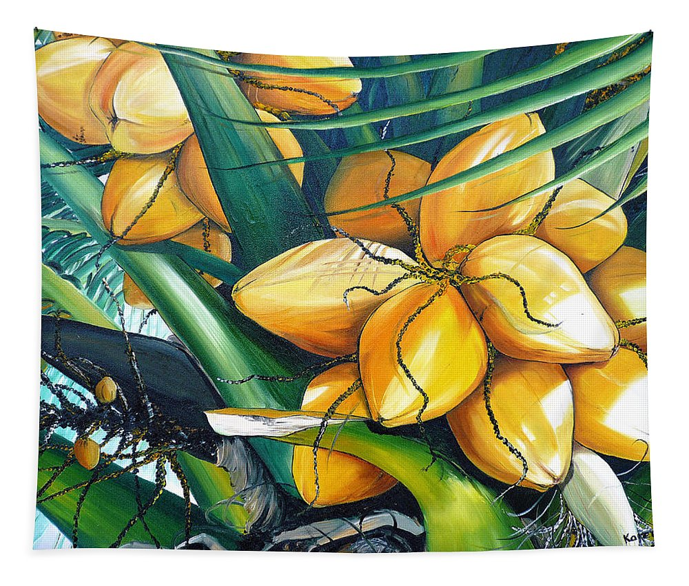Coconut Painting Botanical Painting  Tropical Painting Caribbean Painting Original Painting Of Yellow Coconuts On The Palm Tree Tapestry featuring the painting Yellow Coconuts by Karin Dawn Kelshall- Best