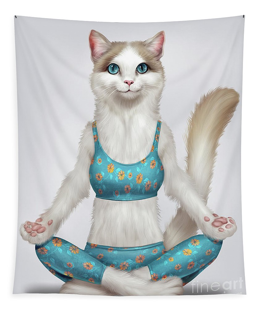 Yoga Tapestry featuring the digital art Yoga Cat by Trindira A