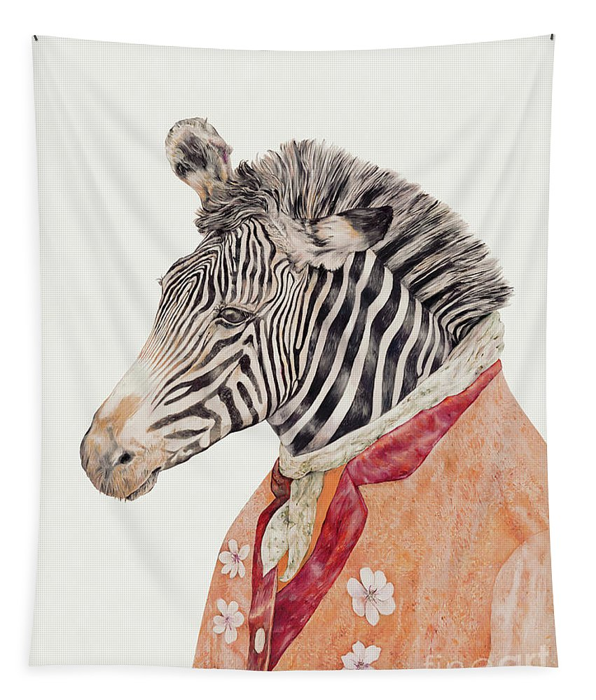 Tapestry featuring the painting Zebra by Animal Crew
