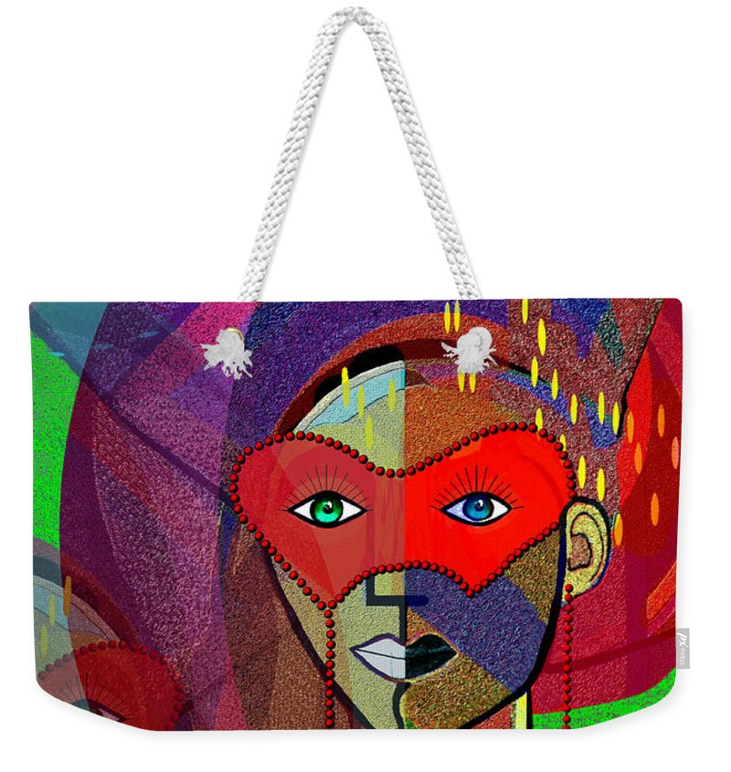 394 Challenging Woman With Mask Weekender Tote Bag featuring the painting  394 - Challenging Woman With Mask by Irmgard Schoendorf Welch