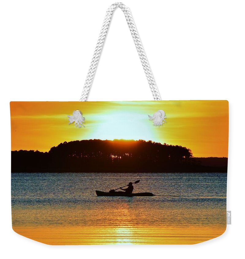 Kayak Weekender Tote Bag featuring the photograph A Reason To Kayak - Summer Sunset by William Bartholomew