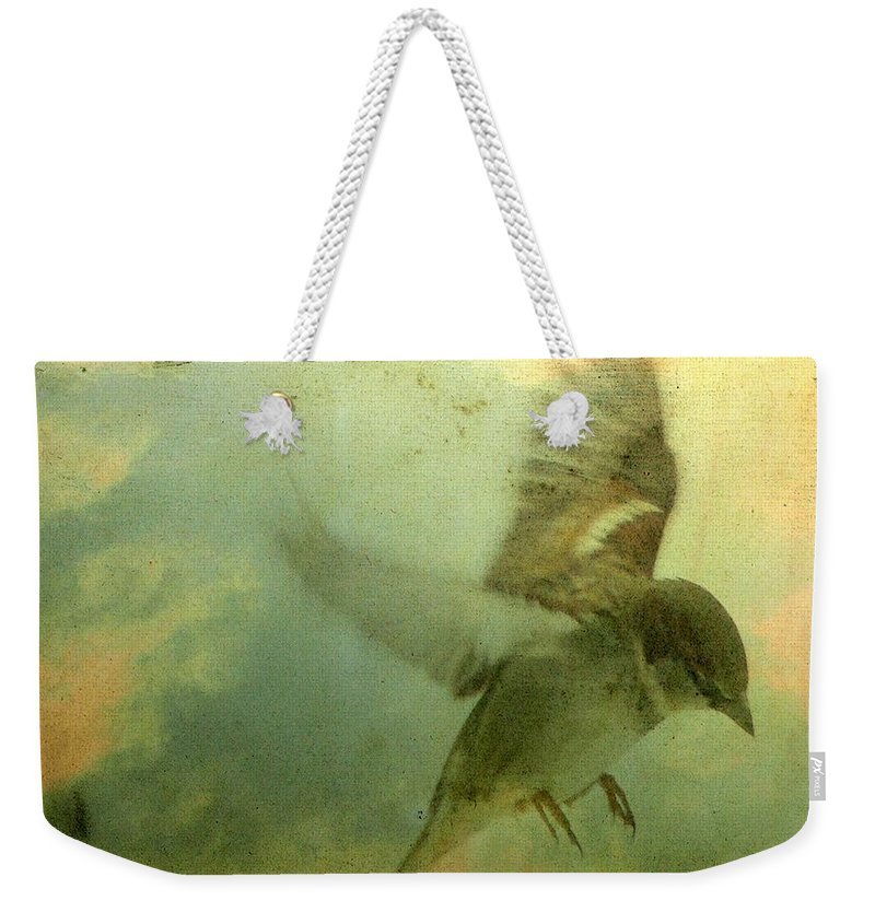 Bird Weekender Tote Bag featuring the digital art Amelia's Heart by Gothicrow Images