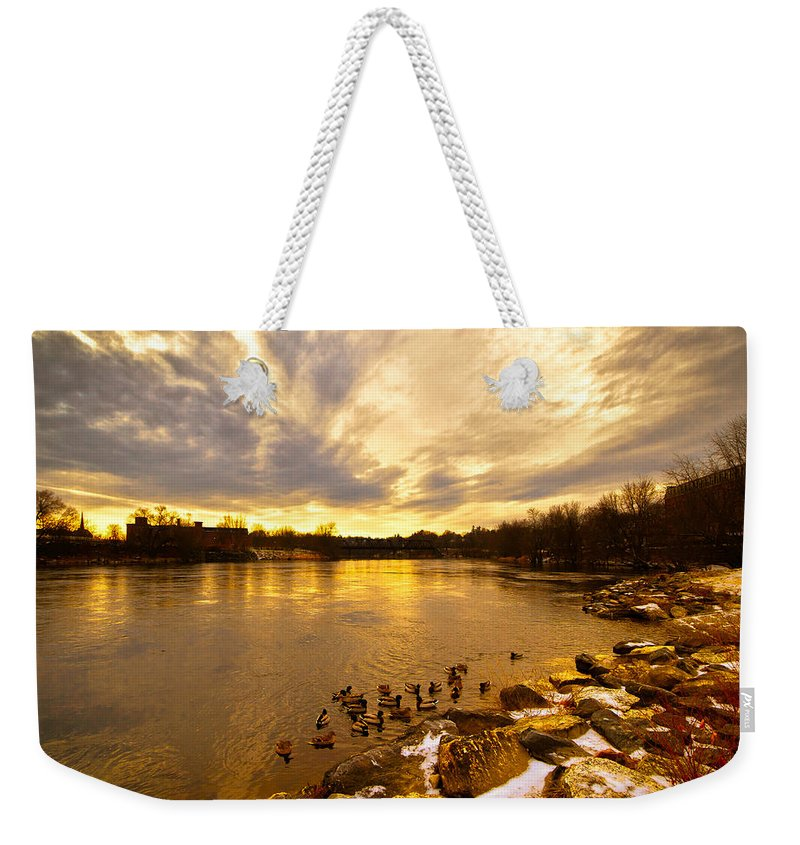 Androscoggin River Weekender Tote Bag featuring the photograph Androscoggin River Between Lewiston And Auburn by Bob Orsillo