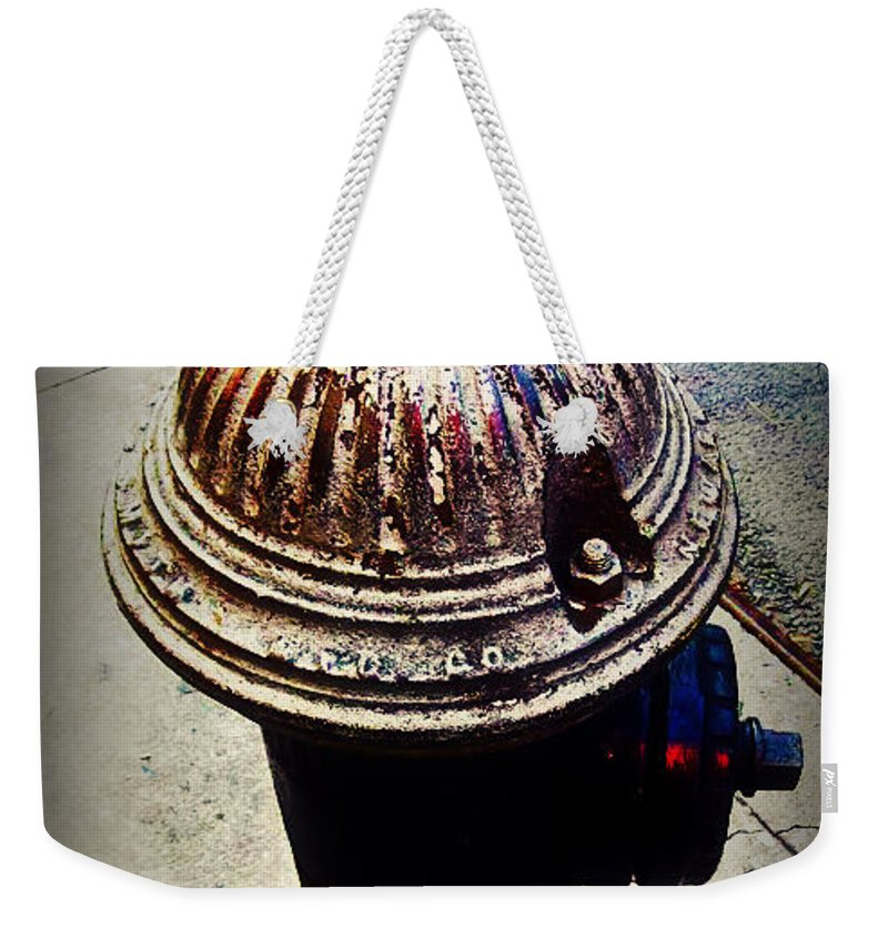 Fire Hydrant Weekender Tote Bag featuring the photograph Antique Fire Hydrant - Blue Tones by Miriam Danar