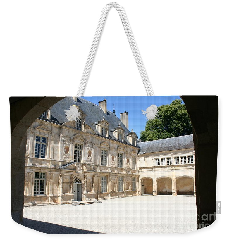 Palace Weekender Tote Bag featuring the photograph Arch View Palace Bussy Rabutin by Christiane Schulze Art And Photography