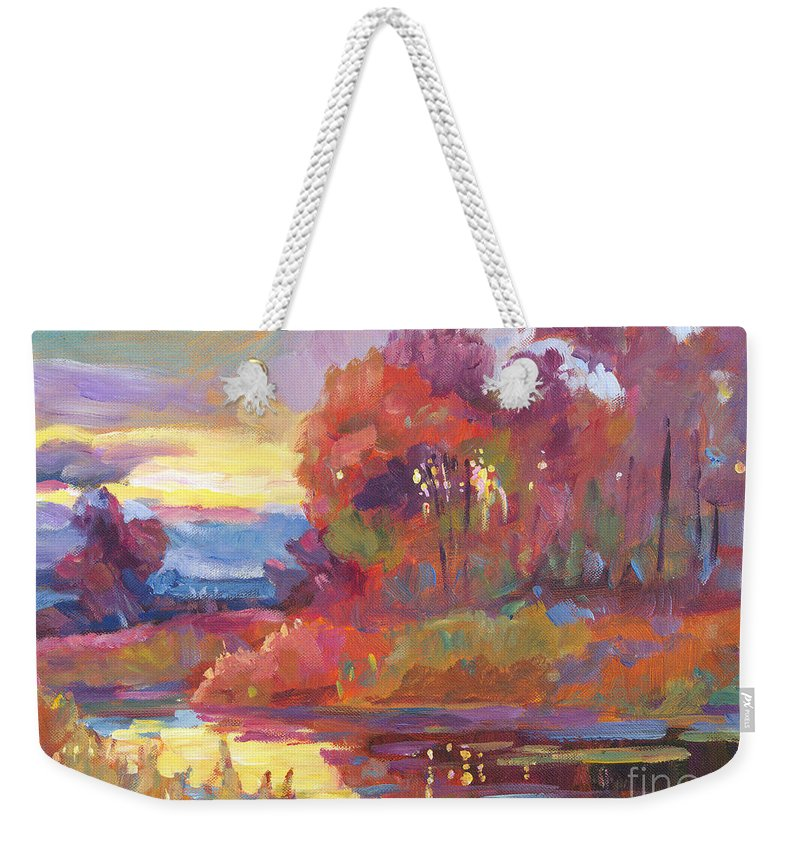 Impressionist Weekender Tote Bag featuring the painting Autumn Light by David Lloyd Glover