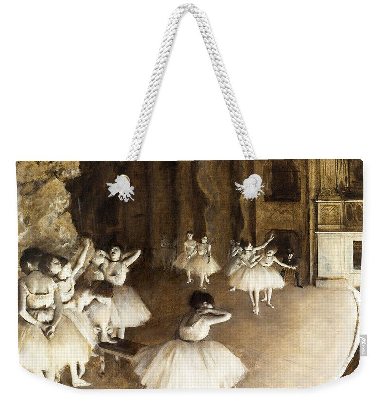Edgar Degas Weekender Tote Bag featuring the painting Ballet Rehearsal On Stage by Edgar Degas