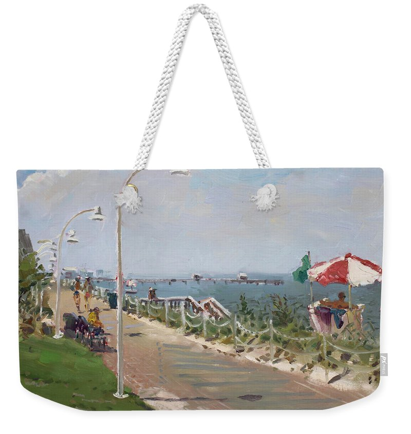 Norfolk Weekender Tote Bag featuring the painting Beach Border Walk In Norfolk Va by Ylli Haruni