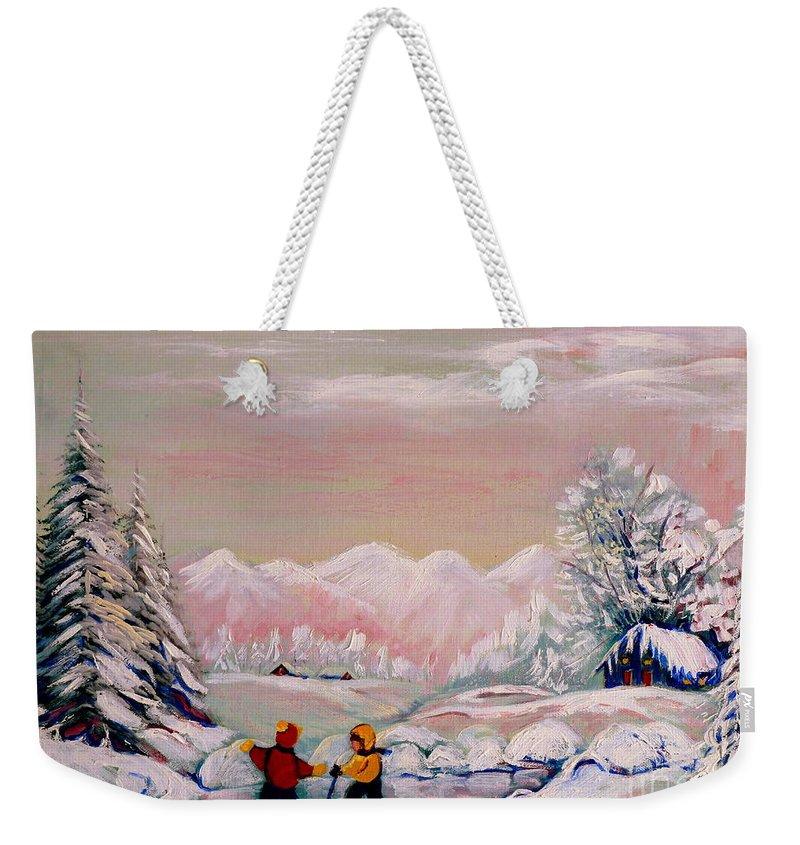 Beautiful Winter Fairytale Weekender Tote Bag featuring the painting Beautiful Winter Fairytale by Carole Spandau