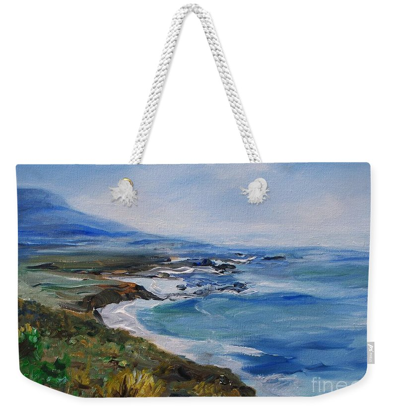 California Coast Weekender Tote Bag featuring the painting Big Sur Coastline by Eric Schiabor
