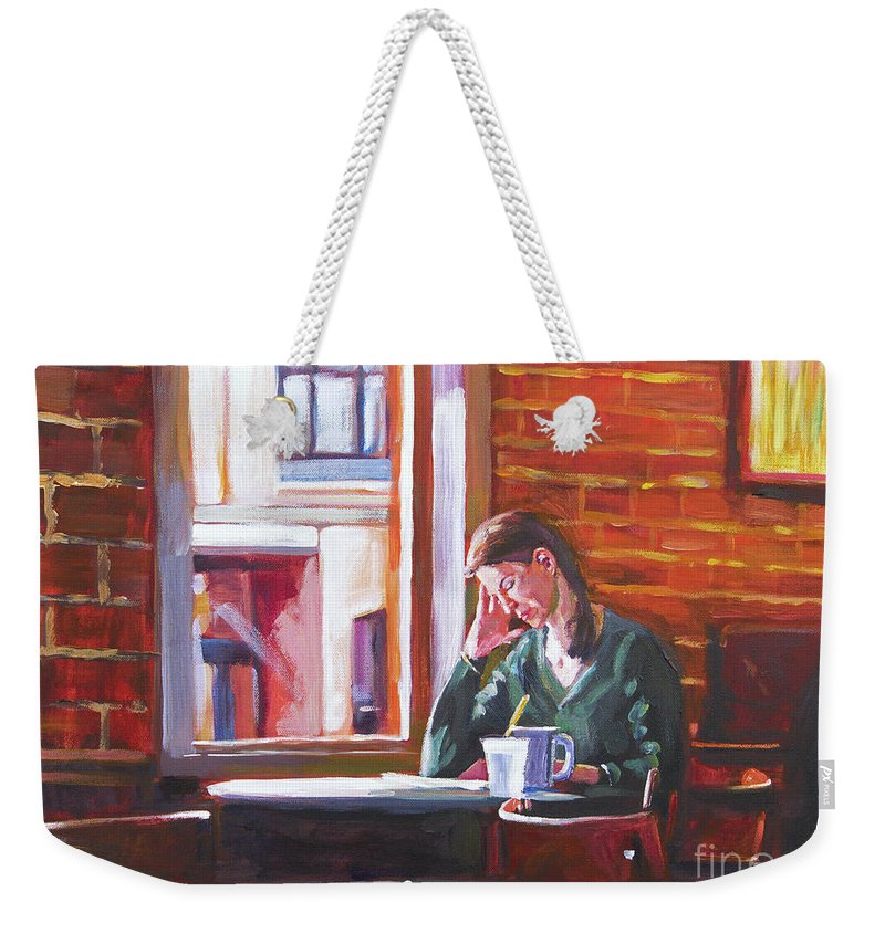 Interior Weekender Tote Bag featuring the painting Bistro Student by David Lloyd Glover