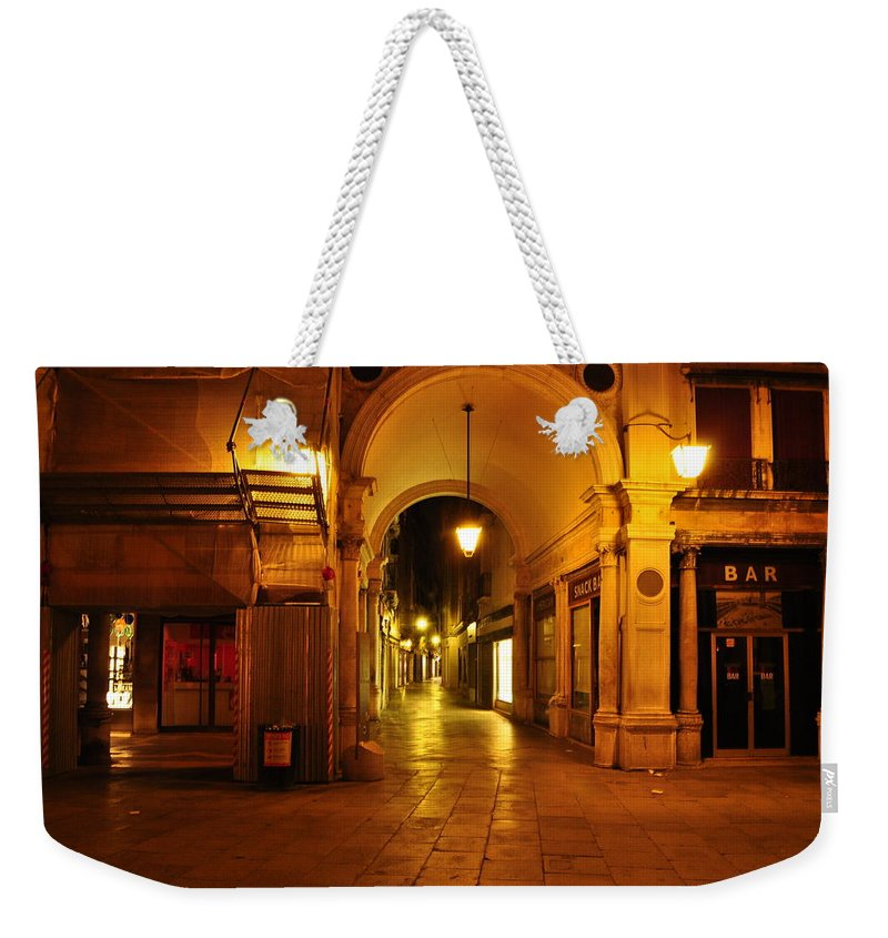 Clock Tower Weekender Tote Bag featuring the photograph Clock Tower Venice Italy And The Path To Merceria by Karen Maxwell