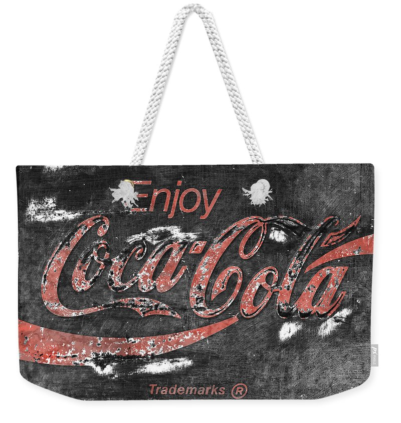 Coca Cola Weekender Tote Bag featuring the photograph Coca Cola Sign Faded Grunge by John Stephens