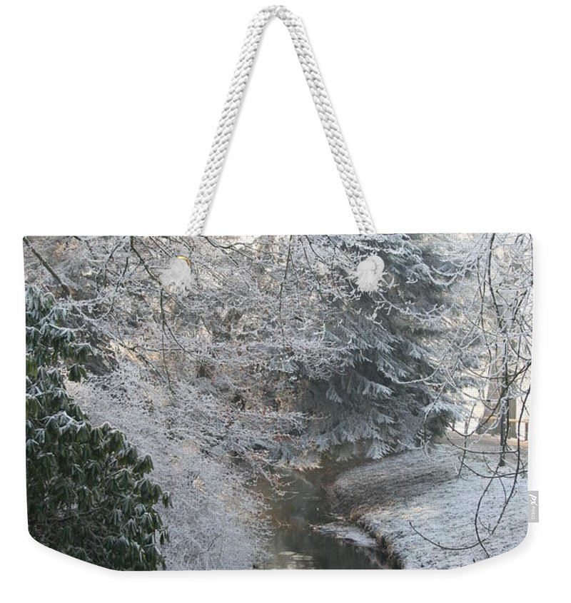 Snow Weekender Tote Bag featuring the photograph Creek Reflection by Christiane Schulze Art And Photography