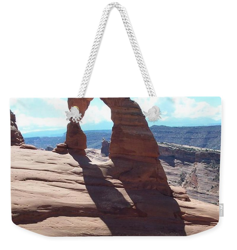 Arch Weekender Tote Bag featuring the photograph Delicate Arch And Shadow by Christiane Schulze Art And Photography