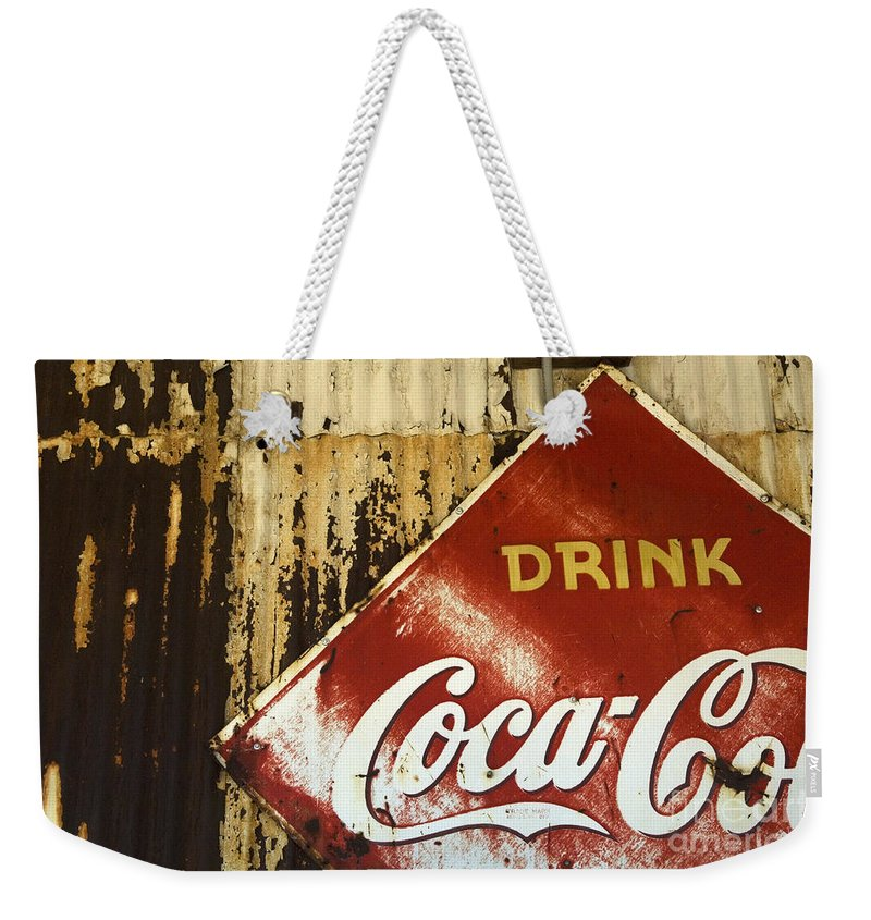 Coke Sign Weekender Tote Bag featuring the photograph Drink Coca Cola Memorbelia by Bob Christopher
