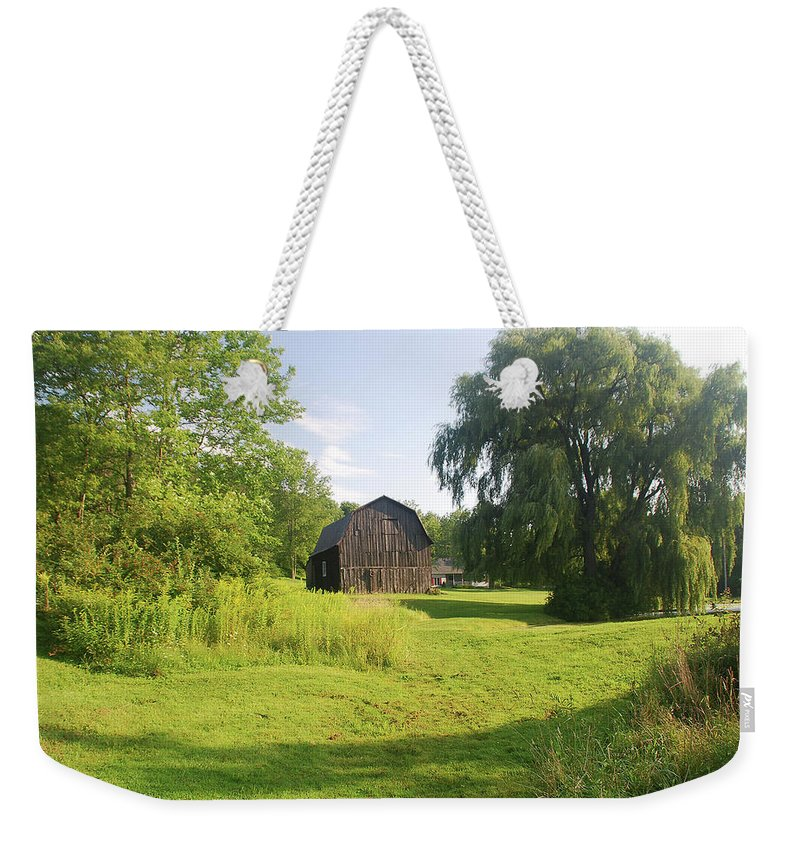 Barn Weekender Tote Bag featuring the photograph Evergreen Trails 7523 by Guy Whiteley