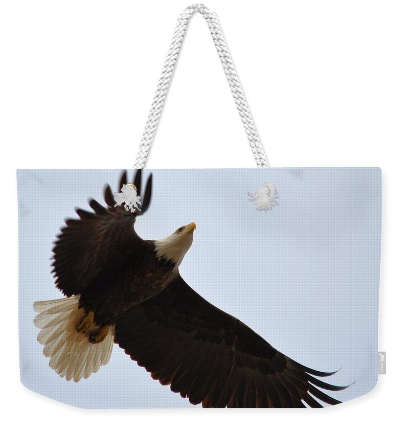Eagle Weekender Tote Bag featuring the photograph Flight Of Freedom by Bonfire Photography