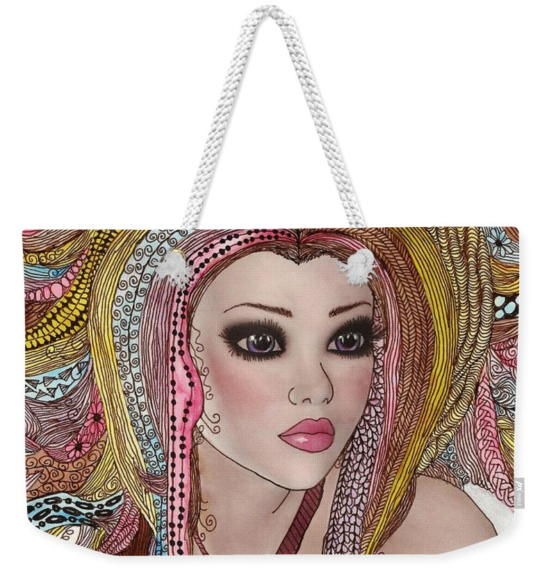 Rainbow Weekender Tote Bag featuring the painting Girl With The Rainbow Hair by Terry Fleckney
