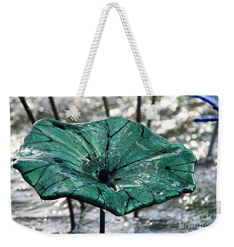 Glass Weekender Tote Bag featuring the photograph Glass Lily Pad by Susan Herber