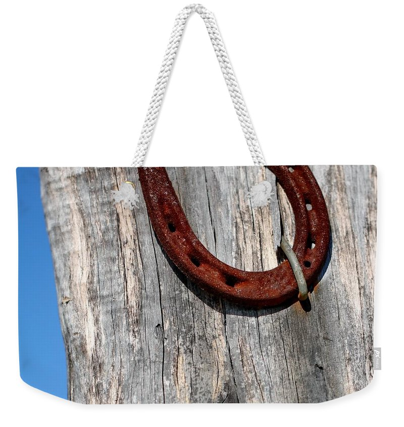 Horseshoe Weekender Tote Bag featuring the photograph Good Luck by Terry Fleckney
