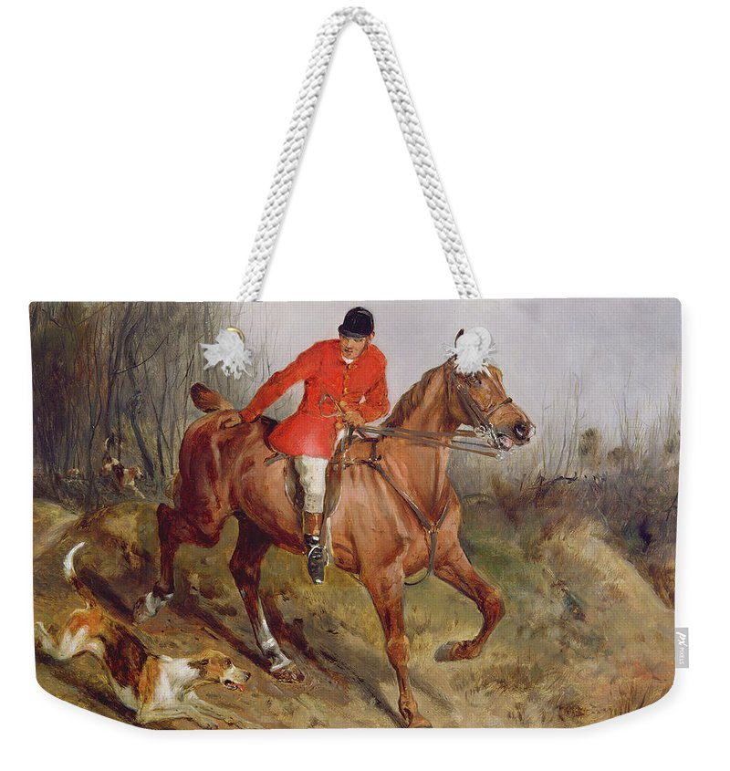 Grb; Hunt; Dog; Horse; Rider Weekender Tote Bag featuring the painting Hunting Scene by John Alfred Wheeler