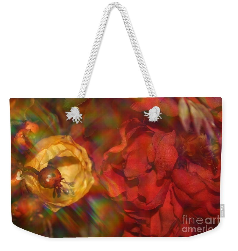 Impressionism Weekender Tote Bag featuring the photograph Impressionistic Bouquet Of Red Flowers by Dora Sofia Caputo Photographic Design and Fine Art