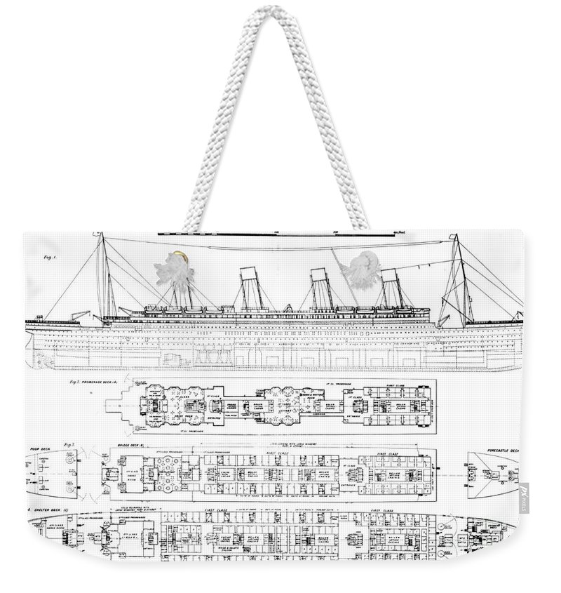 Longitudinal Section And Plan; Bulkhead; Exit; Diagram; Ocean Liner; Boat; Luxury; Tragic Weekender Tote Bag featuring the drawing Inquiry Into The Loss Of The Titanic Cross Sections Of The Ship by English School