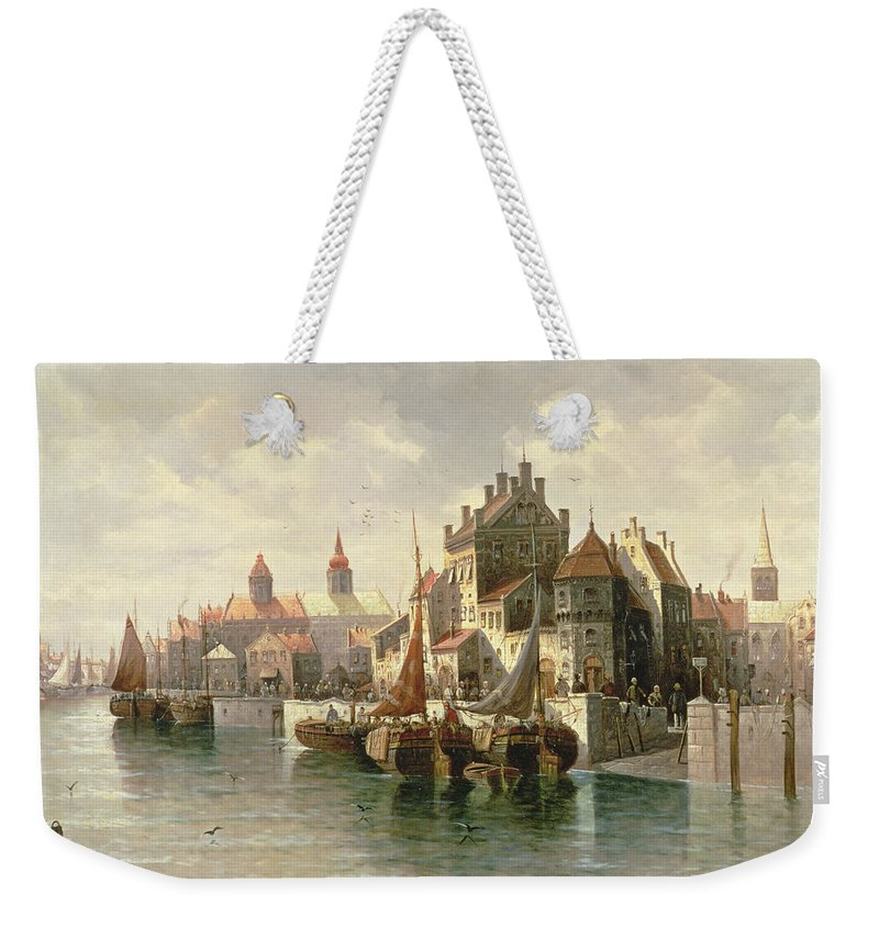 Barges Weekender Tote Bag featuring the painting Kieler Canal by August Siegen